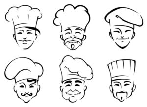 Set of six heads of chefs